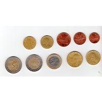 Греция набор евро монет с одной памятной и две монеты чеканки разных дворов(10 центов).