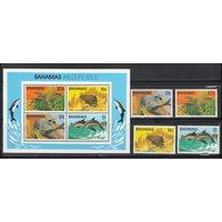 Багамы Фауна 1982 год чистая полная серия из 4-х марок и блока