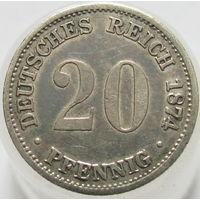 Германия 20 пфеннигов 1874 В серебро (111)