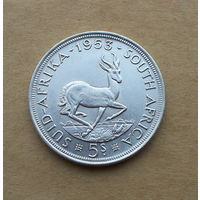 Южная Африка, 5 шиллингов 1953 г., Елизавета II, серебро