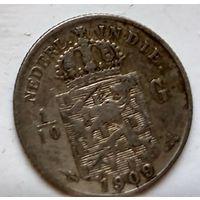 Голландская Ост-Индия 1/10 гульдена, 1909 1-7-21