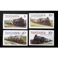 Танзания 1985 г. Поезда. Локомотивы. Железная дорога, полная серия из 4 марок. Чистые #0006-Ч1
