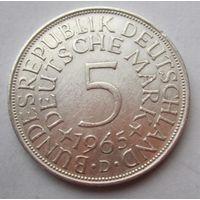 ФРГ. 5 марок 1965 D, Серебро