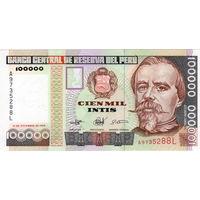 Перу, 100 000 инти, 1989 г., UNC