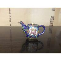Чайник миниатюра Клуазоне эмаль латунь из Германии