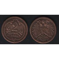 Австро-Венгрия km2801 2 геллер 1896 год (f50)(ks00)