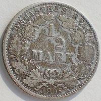 Германия, 1/2 марки 1906 года (D), Ag 900/ 2,77 грамма, KM# 17, РАСПРОДАЖА