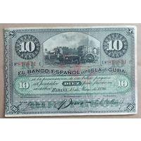 10 песо 1896 года - Куба - VF - достаточно редкая