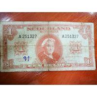 Банкнота Нидерланды. 1 гульден 1945 года. Редкость