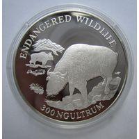 Бутан. 300 нгултрум 1993 серебро. Свинья Такин. Нечастая. .4Е-12