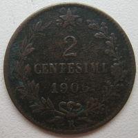 Италия 2 чентезимо 1906 г.