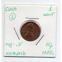 """1 цент США 1987 года (#2 м/д - """"D"""")"""
