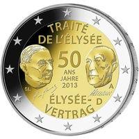 2 евро 2013 Германия A 50 лет подписания Елисейского договора UNC из ролла
