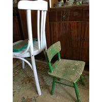 Стул стульчик детский зелёный СССР очень прочный, не смотря на вид