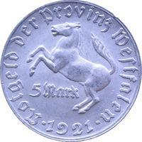 РАСПРОДАЖА!!! - ГЕРМАНИЯ ВЕСТФАЛИЯ 5 марок 1921 год