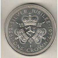 Остров Мэн 1 крона 1977 25 лет правления Королевы Елизаветы II /герб/