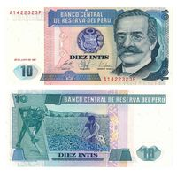 Перу 10 инти образца 1987 года UNC p129