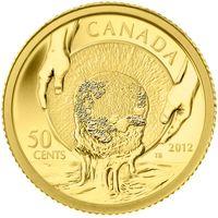 """Канада 0,5 доллара 2012г. """"150-летие золотой лихорадки Карибу"""".  Монета в капсуле; подарочном футляре; номерной сертификат; коробка. ЗОЛОТО 1,27гр.(1/25 oz)."""