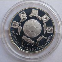 Италия, 200 лир, 1989, ЧМ по футболу, серебро, пруф