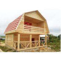 Садовый дачный Дом с терассой и балконом из профилированного бруса 6 на 7 м сруб- Ян