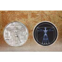 """Острова Кука 5 долларов 2021г. """"Рентген - Витрувианский человек"""". Монета в капсуле; подарочной рамке; сертификат; коробка. СЕРЕБРО 31,10гр.(1 oz)."""