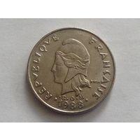 Французкая Полинезия 20 франков 1988г