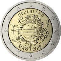 2 евро Нидерланды 2012 10 лет наличному обращению евро UNC из ролла