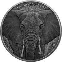 "Буркина-Фасо 1000 франков 2016г. ""Слон"". Монета в капсуле; подарочном футляре; номерной сертификат; коробка. СЕРЕБРО 31,10гр.(1 oz)."