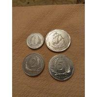 Карибы Восточные набор 4 монеты