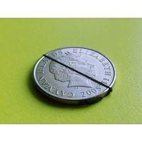Каймановы Острова. 25 центов 2005. Брак, разворот (поворот).