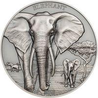 """Танзания 1000  шиллингов 2016г. Вторая монета серии: """"Горельеф животных: Слон"""". Монета в капсуле; подарочном футляре; номерной сертификат; коробка. СЕРЕБРО 31,135гр.(1 oz)."""