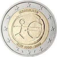 2 евро Нидерланды 2009 10 лет Экономическому и Валютному союзу UNC из ролла