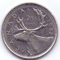 Канада, 25 центов 1982 года.