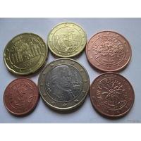 Набор евро монет Австрия 2007 г. (1, 2, 5, 10, 20 евроцентов, 1 евро)