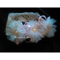Нежная айвори повязка с фатиново-кружевными цветами
