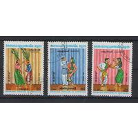 Кампучия Танцы фольклор 1983 год гашеная серия из 3-х марок