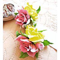 ''Букетики чайных роз''- резинки/волос, В НАЛИЧИИ