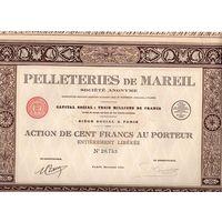 Pelleteries de Mareil, производство меха, акции на 100 франков, Париж, 1924 г.