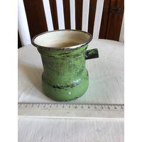 Турка эмалированная для варки Кофе старая СССР зелёная