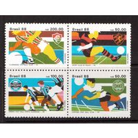 Бразилия-1988(Мих.2264-2267)  ** , Спорт, футбол