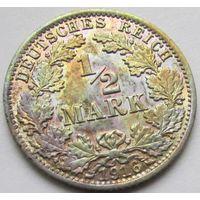 """1/2 марки 1916 года """"А"""". Очень красивая монетка в легкой патине, блеск!"""