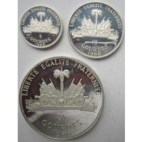Гаити. 5, 10 и 25 гурдов 1968 год. Довольно редкий набор. Серебро