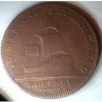 ВЕЛИКОБРИТАНИЯ ТЕМЗА-СЕВЕРН 1/2 пенни 1795 год - ОЧЕНЬ РЕДКАЯ!