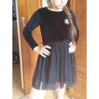 Платье нарядное плюш гипюр на 5-6лет