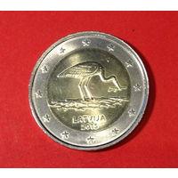 Юбилейные 2 евро Латвии, 2015г, цапля
