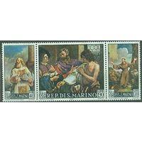 Сан Марино 1967 Живопись Барбери Возрождение Michel 887 - 889 (CV 0,6 eur) MNH Религия