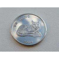 """Конго. 1 франк 2004 год  """"Животные - Золотая кошка"""" KM#174 Редкая!!!"""