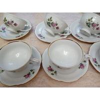 Набор чайных чашек с блюдцами рельефный высококачкственный фарфор