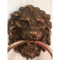 Лев, дверной молоток, стукало, барельеф тяжелый Бронза