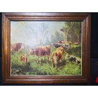 """Картина  """"коровы на водопое"""" . Дубовая старая рама.. размер с рамой 41 на 52. Худ. А. МЮЛЛЕР"""